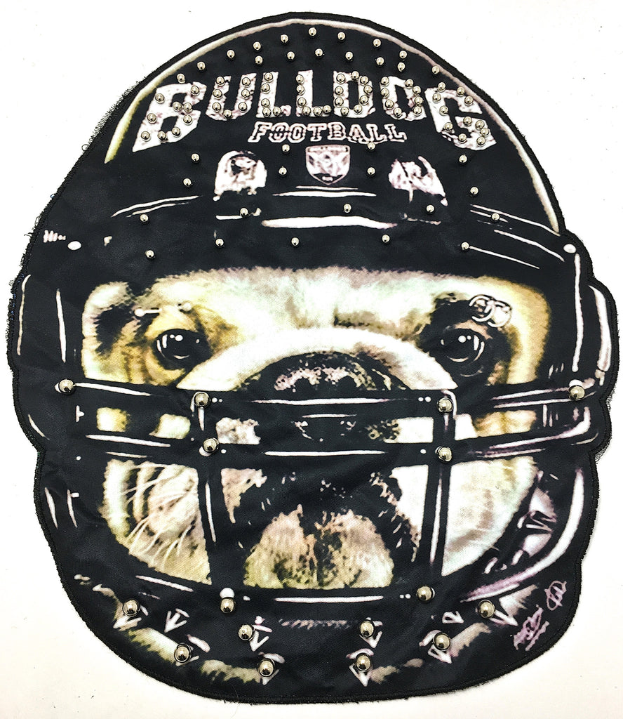 "Bulldog Football Photo on Fabric Two sizes Gold Beads Sew On or Glue 13"" x 12"""