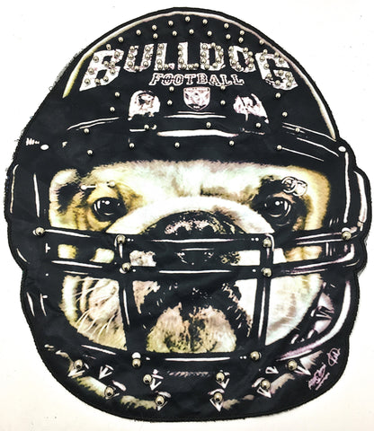 "Bulldog Football Photo on Fabric Gold Beads Sew On or Glue 13"" x 12"""