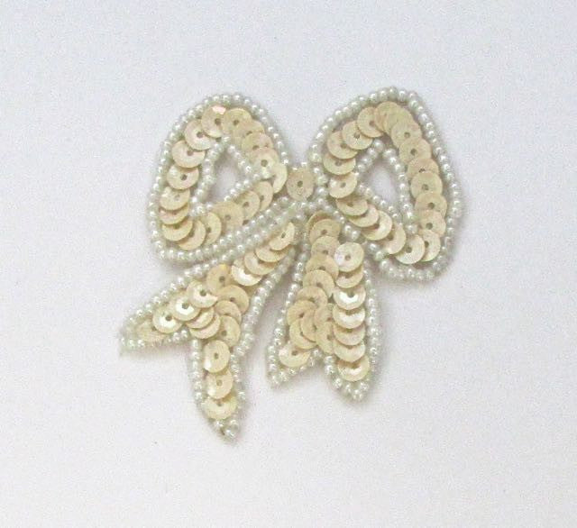 "Bow with Cream Sequins and White Beads  2"" x 2.5"""