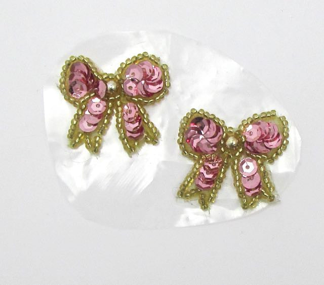 "Bow Pair with Pink Sequins, Gold Beads and Silver Pearl, Pre-Glued 1.25"" x 1"""