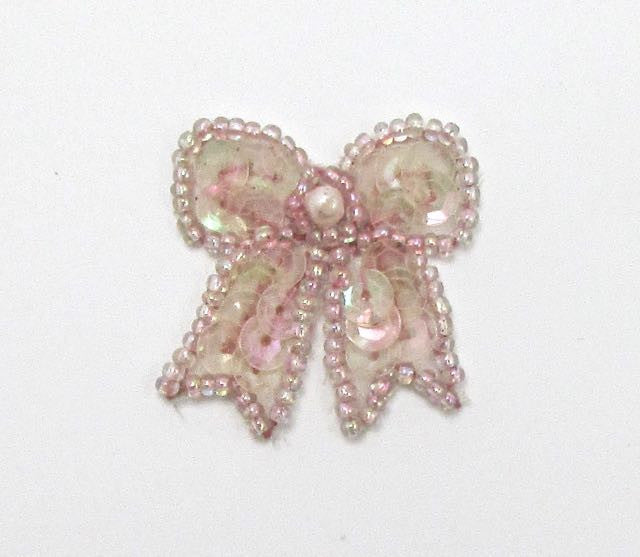 "Bow with Iridescent Pink Sequins, Beads and Pearl  1.25"" x 1.25"""