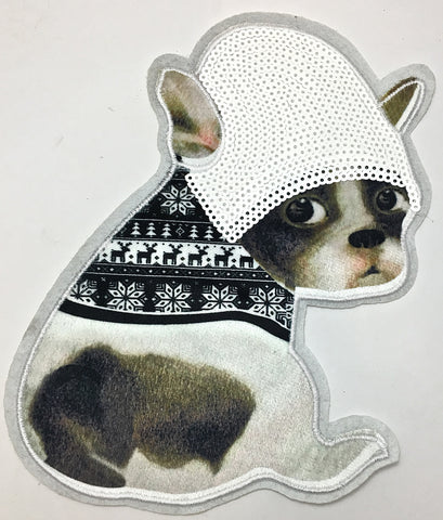 "Dog with Felted Photo, White Sequins and White Embroidered Outline 9"" x 7.5"""