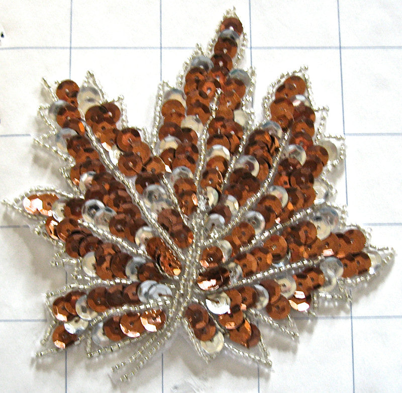 "Leaf with Bronze and Silver Sequins and Beads 4"" x 4"""