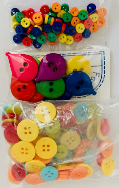 Assorted Three Bags of Colorful Buttons in different sizes