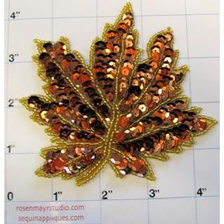 Leaf with Two Tone Bronze Sequins and Beads  4.5""