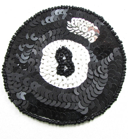 Billiards (Behind the 8 ball) With Black White Silver Sequins and Beads 3""