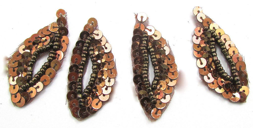 "Leaf Set of Four With Bronze Sequins and Beads 1.5"" x 7/8"""