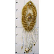 Load image into Gallery viewer, Epaulet Oval Shaped with Gold Beads and two lazer Rhinestones 6""