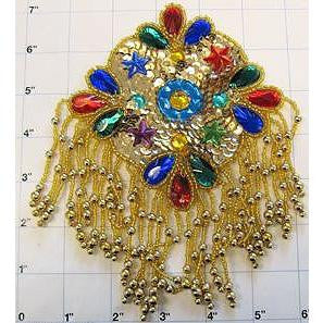 "Designer Motif Gold Epaulet Blue  Red  Turquoise Green Beads and Stones 7"" x 5"""
