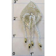 "Load image into Gallery viewer, Epaulet Diamond Silver with White Tassels 2.5"" x 1"""