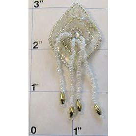 "Epaulet Diamond Silver with White Tassels 2.5"" x 1"""