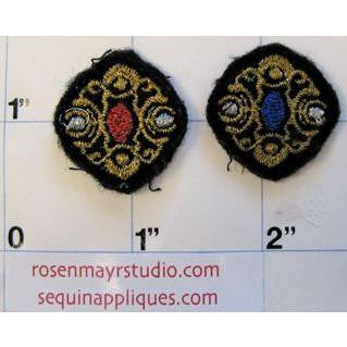 Embroidery Motif Pair with Gold Metallic Thread 1""