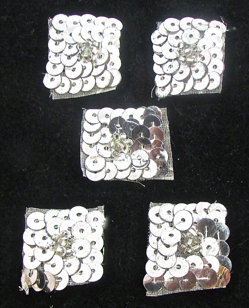 "Designer Motif Set of 5 Silver Squares with Flower in Middle 1"" wide"