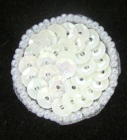 6 PACK Circles and Dots China White Cup Sequins and Beads 1""