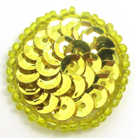 6 PACK Circles and Dots Bright Gold Cup Sequins and Beads 1""