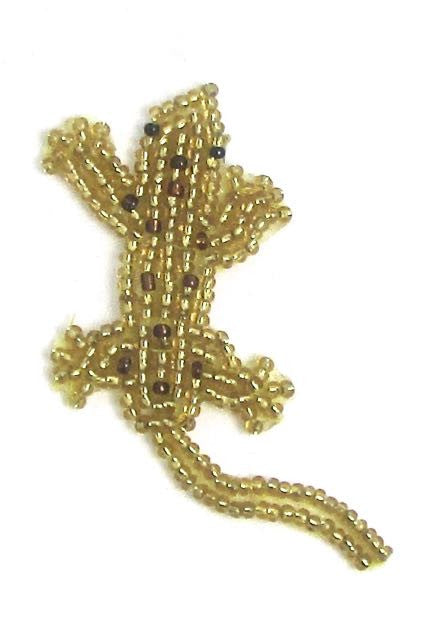 "Lizard with Gold and Brown Beads  2.75"" x 1.25"""