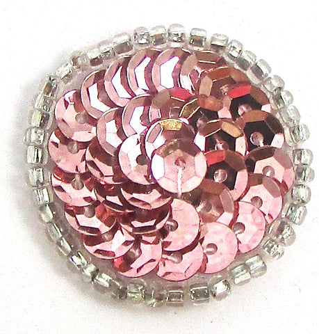 6 PACK Circle and Dot Pink Sequins and Beads Two Sizes