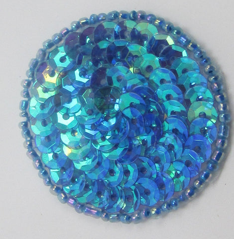 Circle Dot with Dark Turquoise Iridescent Sequins and Beads 1.5""