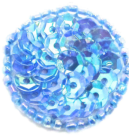 Circle Dot with Bluish Iridescent Tones Sequins and Beads 1""