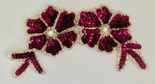 "Load image into Gallery viewer, Flower Double with Maroon Mauve Sequins Silver Beads and Pearl 6"" x 3"""