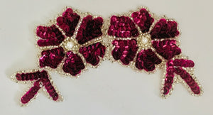 "Flower Double with Maroon Mauve Sequins Silver Beads and Pearl 6"" x 3"""