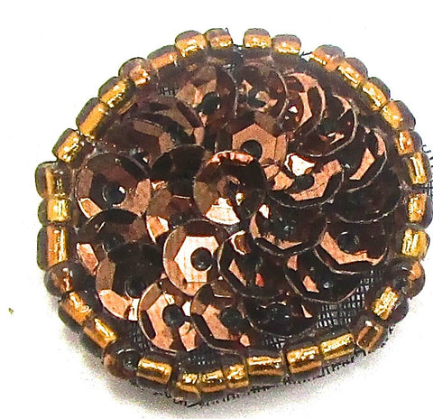 6 PACK Circle Dot with Bronze Sequins and Beads .75""
