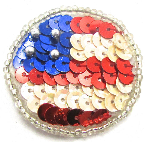 Circle Dot with Red White Blue Flag Colored Sequins and Beads .75""