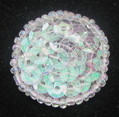 6 PACK Circle Dot with  Iridescent Turquoise Reflections Sequins and Beads .75""