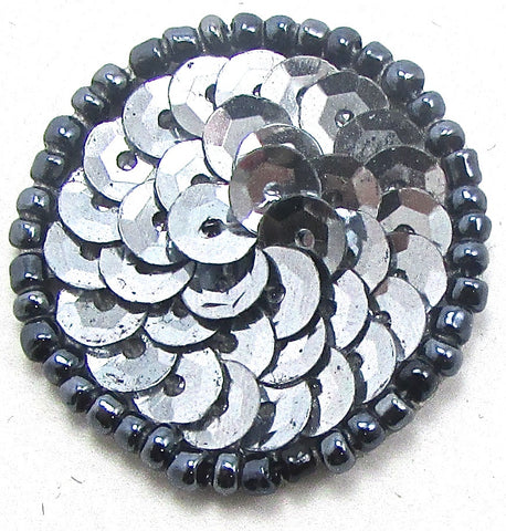 Circle Dot with Grey Sequins and Beads two sizes