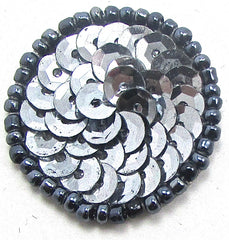 6 PACK Circle Dot with Grey Sequins and Beads two sizes