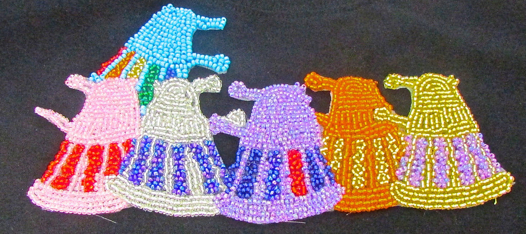 "Robots Six with Multi-Colored Beads 4"" x 7.5"""