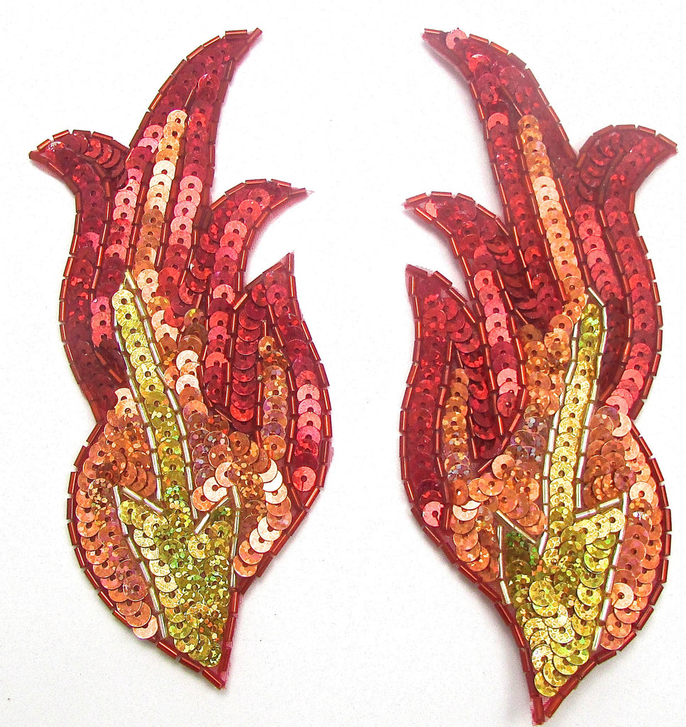 "Flame Pair Red Gold Orange Sequins and Beads 6"" x 3"""