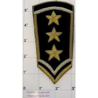 "Patch with Black and Gold Three Star 5"" x 3"""