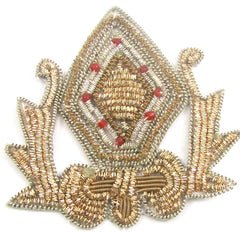 "12 PACK - Bullion Crest with Gold Thread and Beads 8 Red Beads 3"" x 2.5"" - Sequinappliques.com"