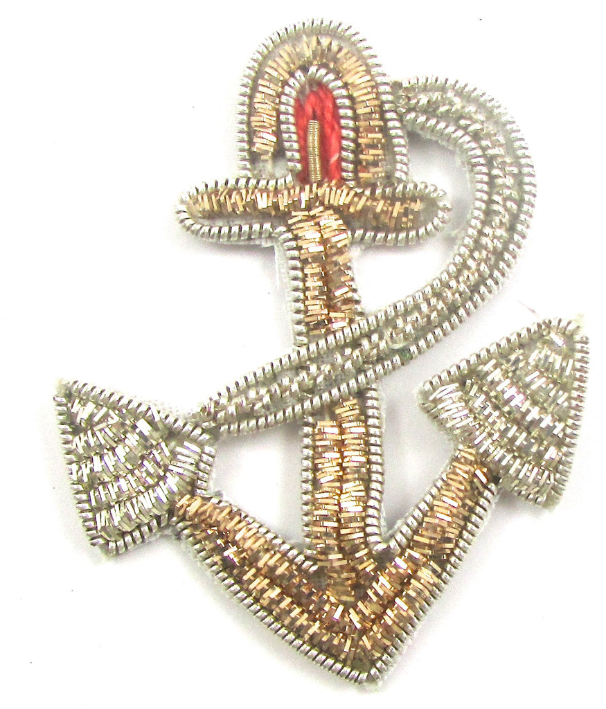 "Anchor with Silver and Gold and Red Bullion Thread 2""x1.5"" - Sequinappliques.com"