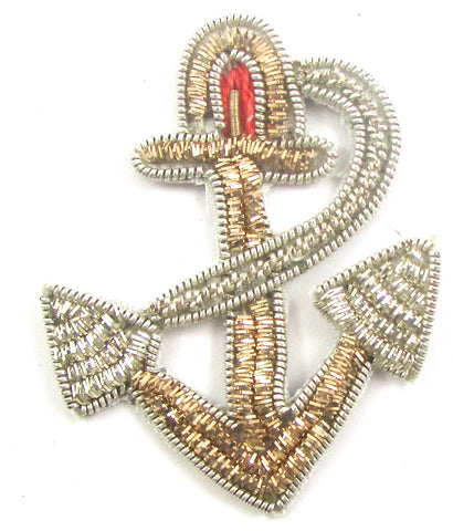 "Anchor with Silver and Gold and Red Bullion Thread 2""x1.5"""