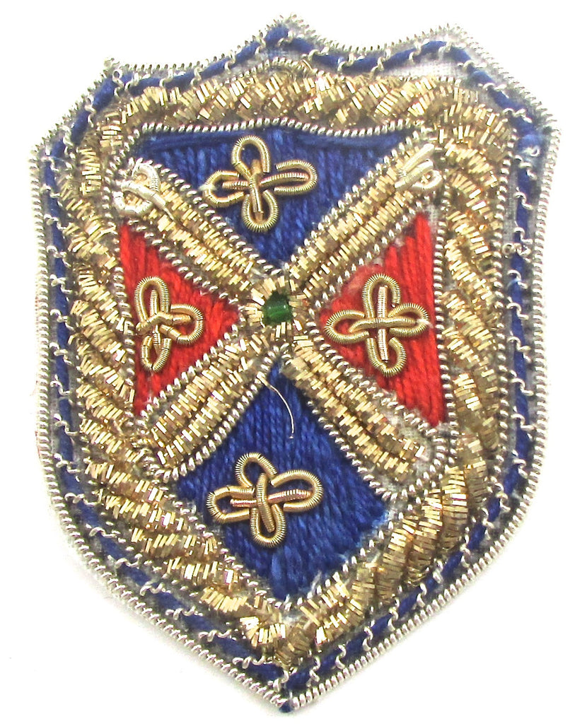 "Bullion Crest Patch with Blue/Red Green Bead 2"" X 1.5"""