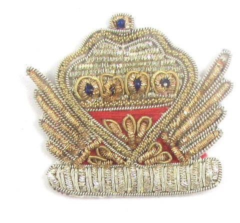"Bullion Crown Crest with Silver Gold and Red Bullion and Blue Beads  2.25"" x 2.25"""