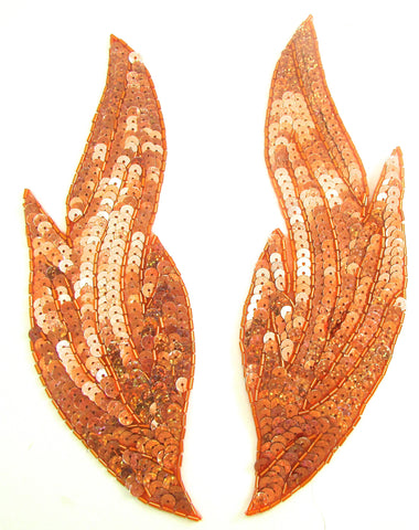 "Flame Pair with Brilliant Laser Orange Sequins 9"" x 3"""
