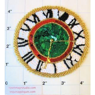 Clock with MultiColored Beads and Sequins 4.5""