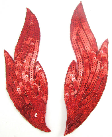 "Flame Pair with Brilliant Laser Red Sequins 9"" x 3"""