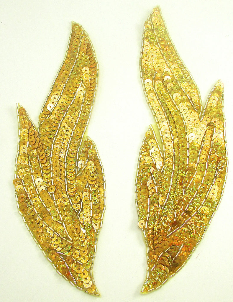 "Flame Pair with Brilliant Laser Gold Sequins 9"" x 3"""