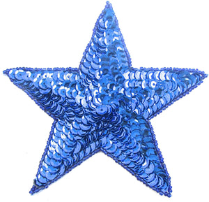 Star with Royal Blue Sequins and Beads 5""