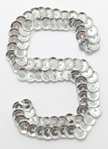 Letter S Silver with No Beaded Edges 2""
