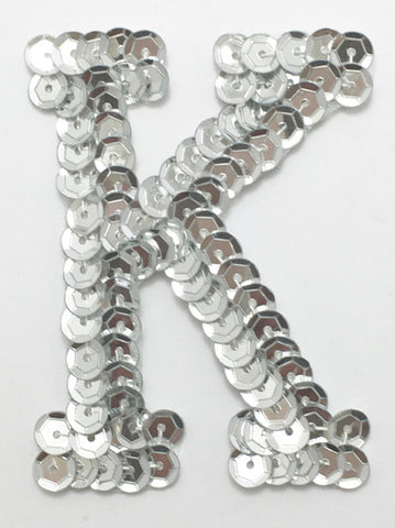 Letter K Silver with No Beaded Edges 2""