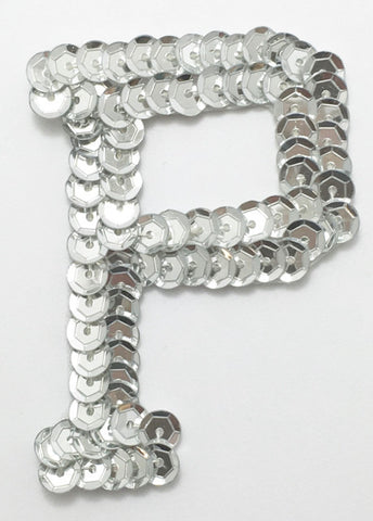 Letter P Silver with No Beaded Edges 2""