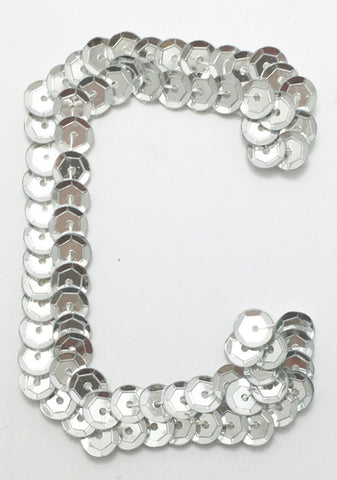 Letter C Silver with No Beaded Edges 2""