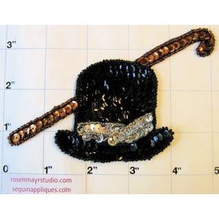 Top Hat, Black and Silver Sequins/Beads with Cane, Brown Sequins/Beads  4.5 x3""