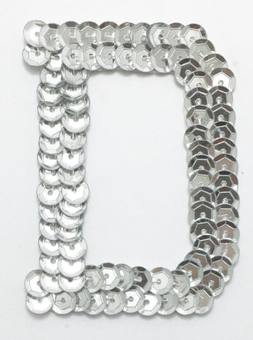 Letter D Silver with No Beaded Edges 2""