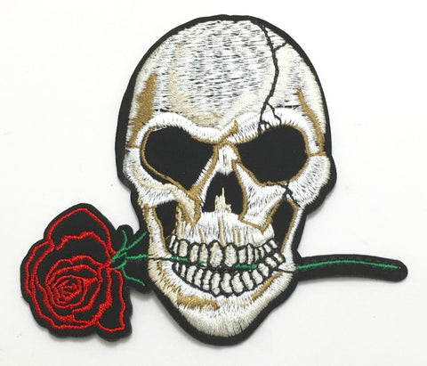 "Skull with Rose Embroidered Iron-On 3.5"" x 4"""
